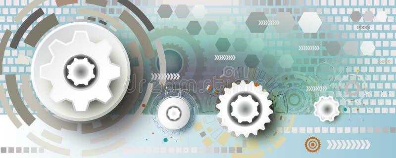 Ingeniería abstracta de la rueda de engranaje de la tecnología en fondo cuadrado libre illustration