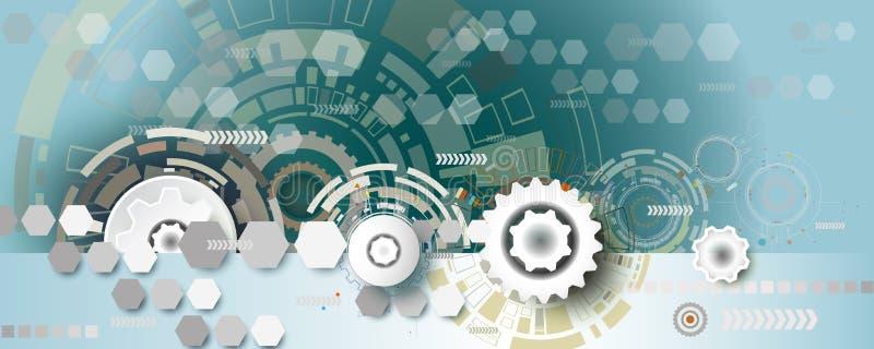 Ingeniería abstracta de la rueda de engranaje de la tecnología en fondo del hexágono stock de ilustración