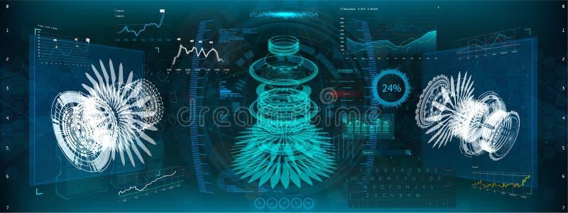 Ingeniería del engranaje, 3D isométrico Diseño de HUD UI stock de ilustración