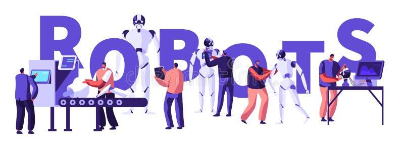 Ingeniería del soporte físico y de programas informáticos de la robótica en laboratorio con concepto del equipo de alta tecnologí libre illustration