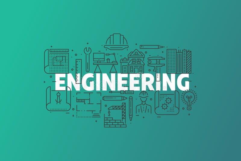 Ingeniería y ejemplo de la bandera del modelo fotos de archivo