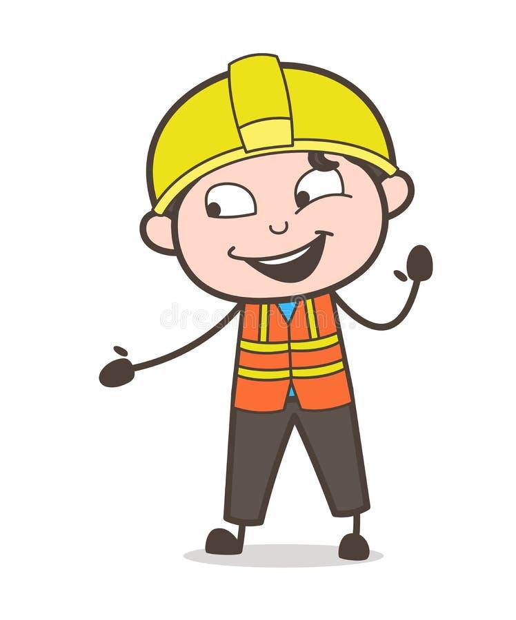 Ingeniero alegre Laughing Face y gesto de mano libre illustration