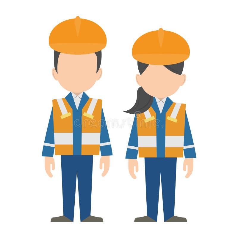 Ingeniero civil, diseño plano de los caracteres de los trabajadores de construcción ilustración del vector