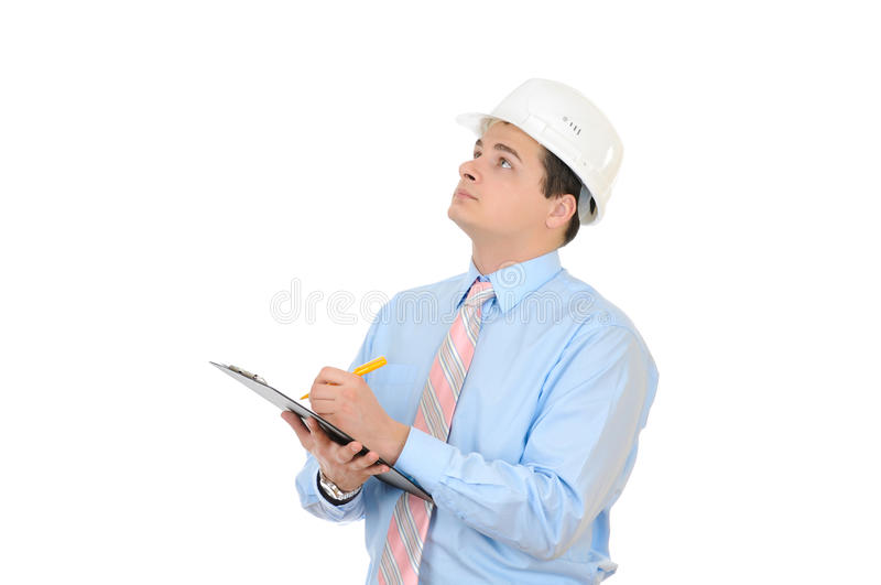 ingeniero con el sombrero duro blanco imagen de archivo
