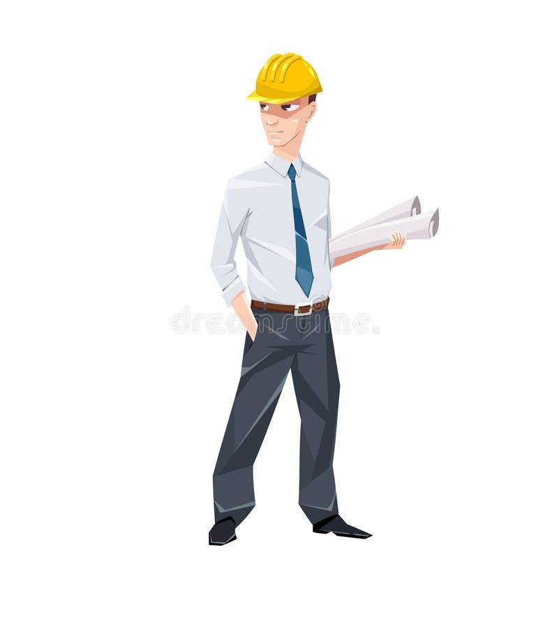 Ingeniero con los documentos en sombrero duro ilustración del vector