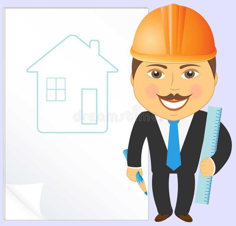 Ingeniero con proyecto de la casa ilustración del vector