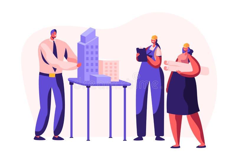Ingeniero Create Building Project del arquitecto en oficina Trabajador de mujer en el casco que proyecta plan de la construcci?n  stock de ilustración