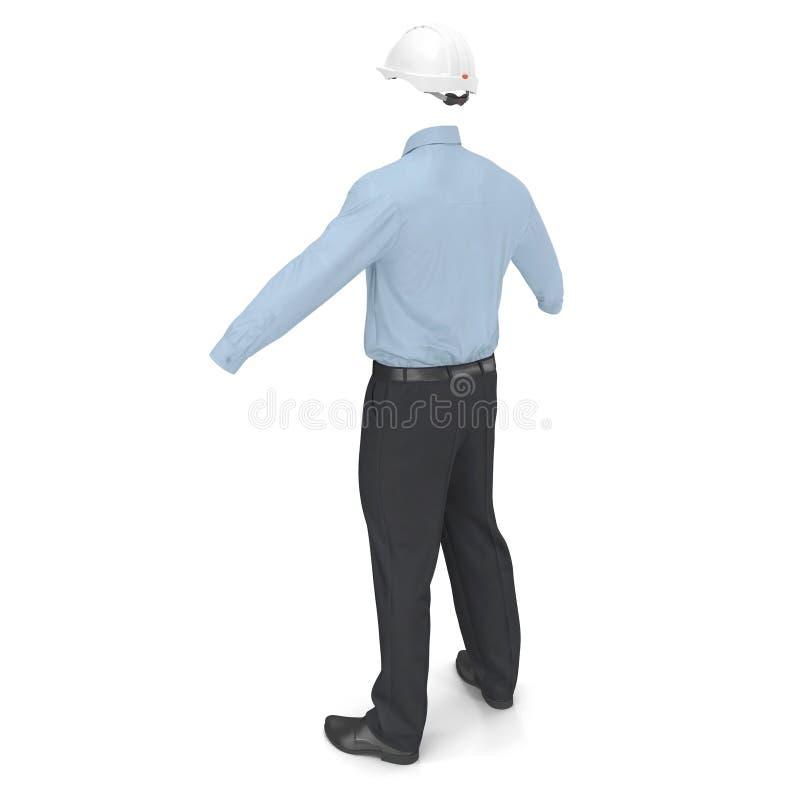 Ingeniero de construcción Uniform With Hardhat 3D Illusration, aislado ilustración del vector