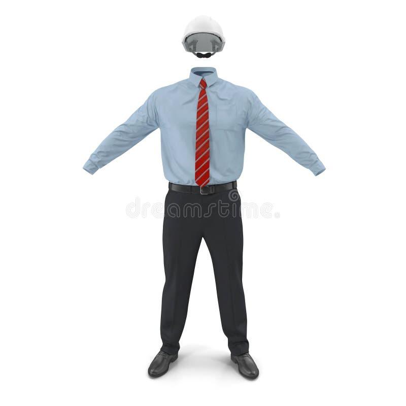Ingeniero de construcción Uniform With Hardhat 3D Illusration, aislado stock de ilustración