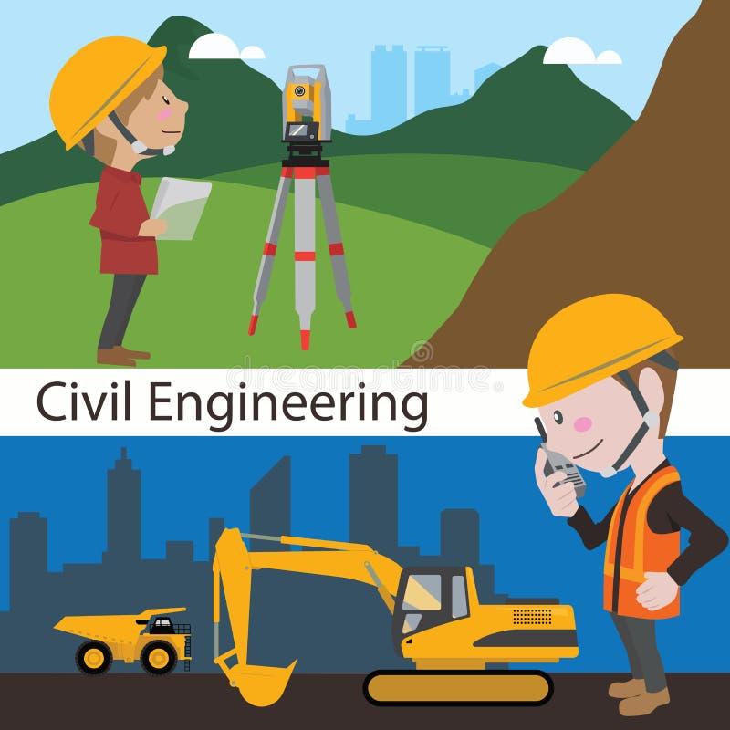 Ingeniero de la encuesta sobre la tierra del ingeniero civil de la construcción stock de ilustración