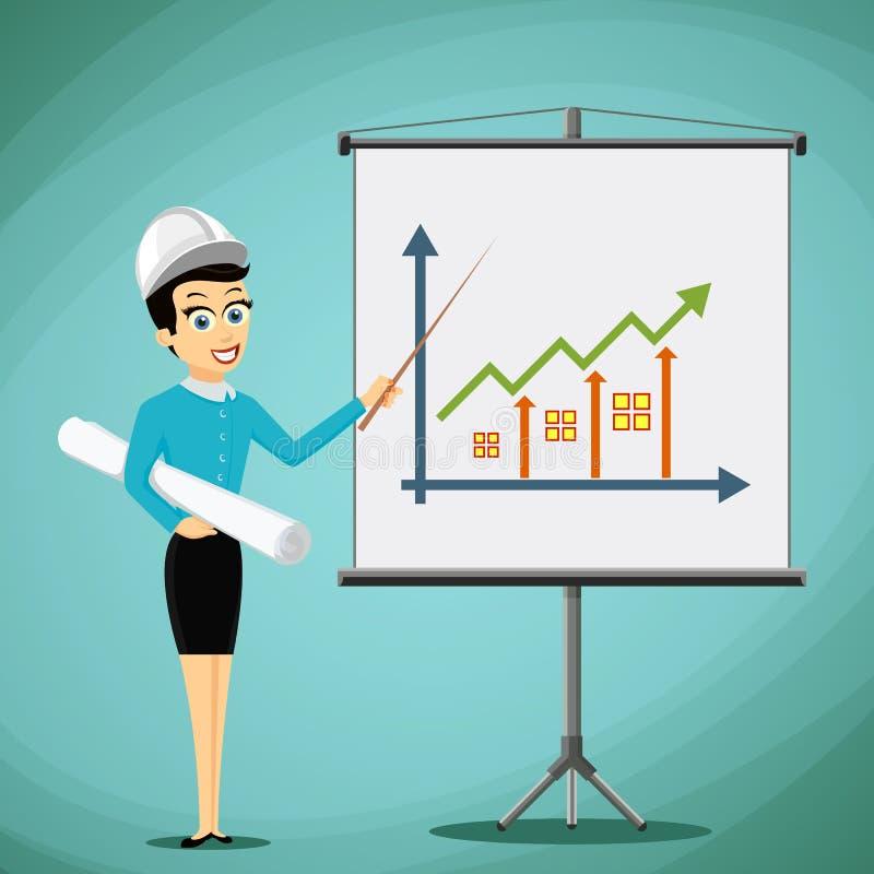Ingeniero de la mujer que muestra en el tablero un gráfico del growt de las propiedades inmobiliarias libre illustration