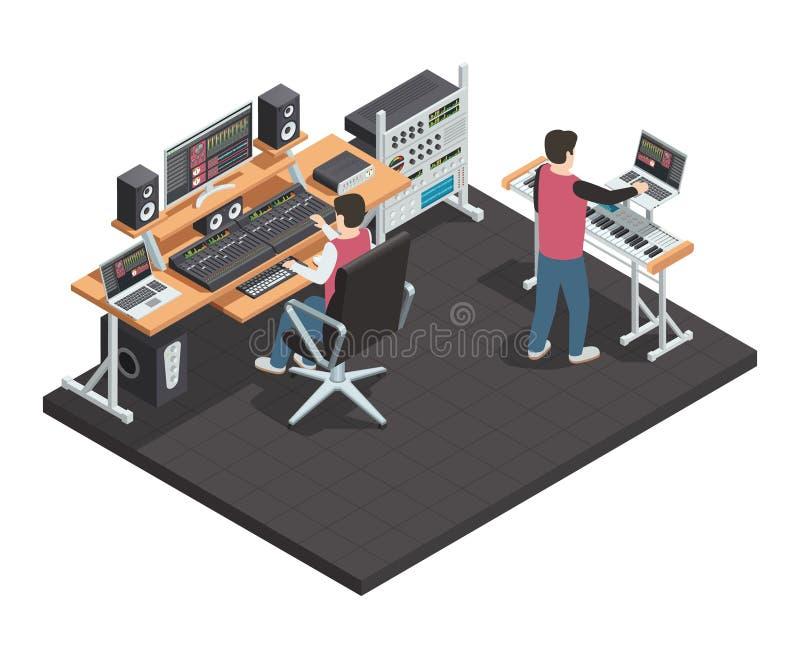 Ingeniero de sonido Isometric Workplace ilustración del vector