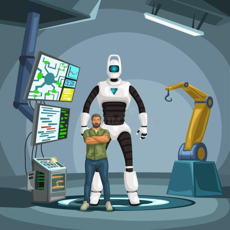 Ingeniero del robot con el cyborg en un laboratorio ilustración del vector