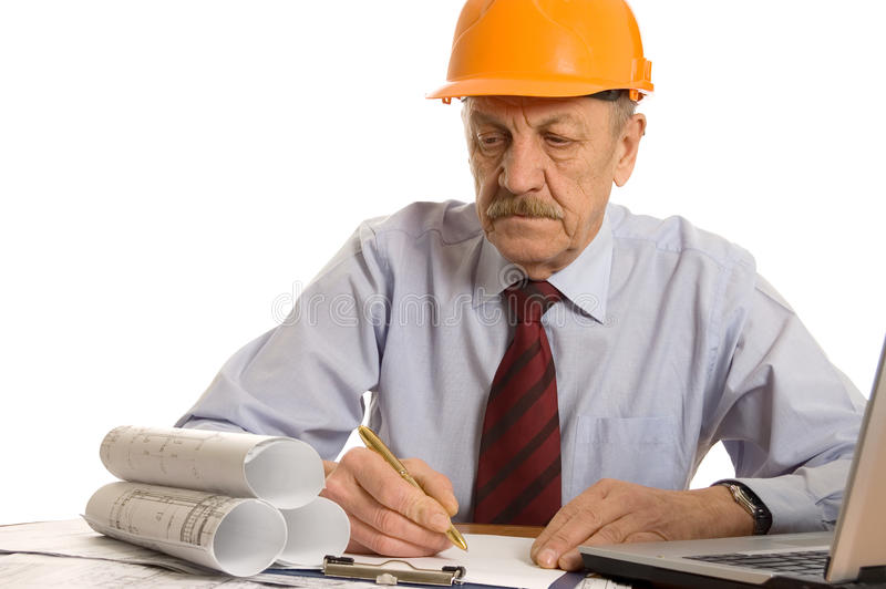 Ingeniero en el ordenador imagenes de archivo