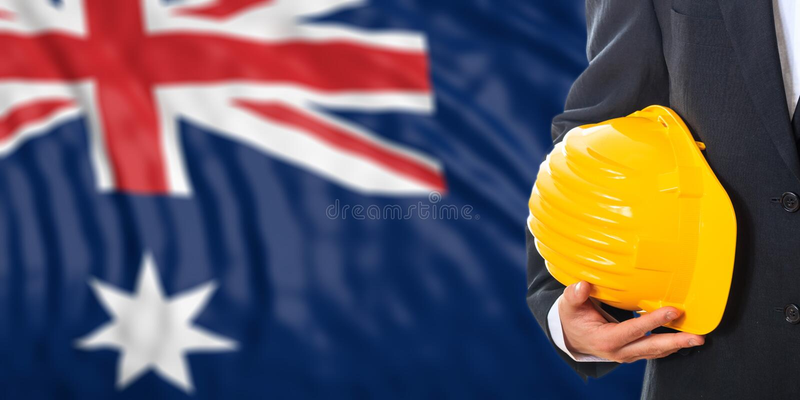 Ingeniero en un fondo australiano de la bandera ilustración 3D fotografía de archivo