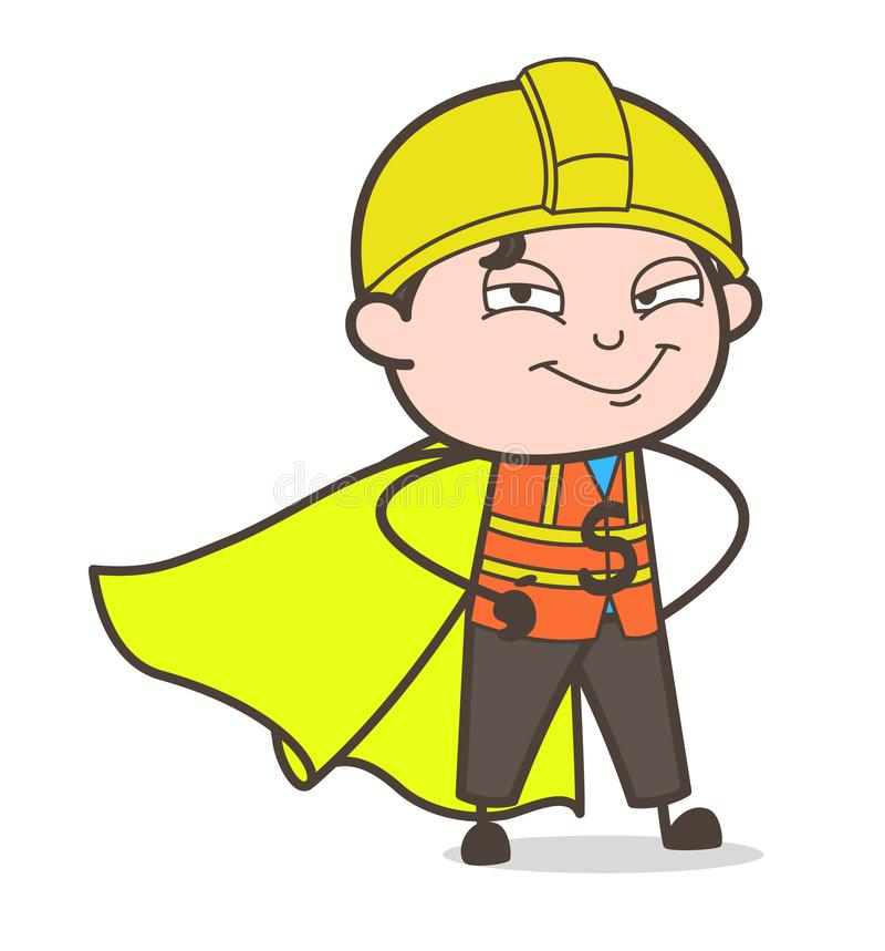 Ingeniero estupendo Smiling Face - ingeniero de sexo masculino Illustration de la historieta linda libre illustration