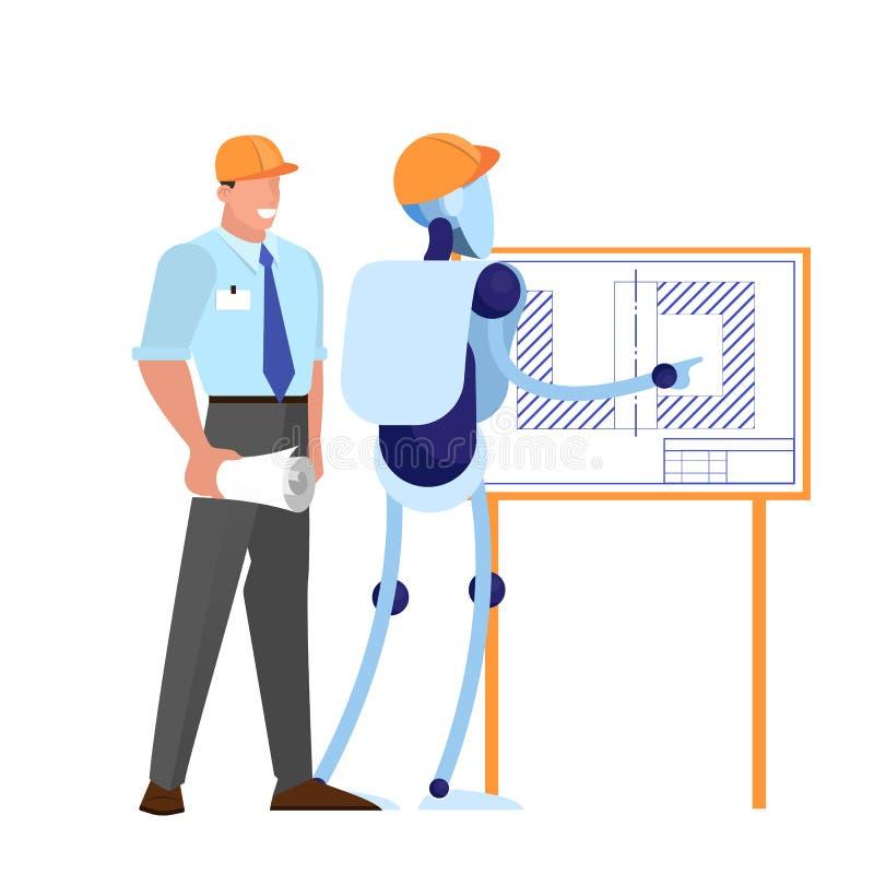 Ingeniero humano y robot en casco trabajando juntos libre illustration