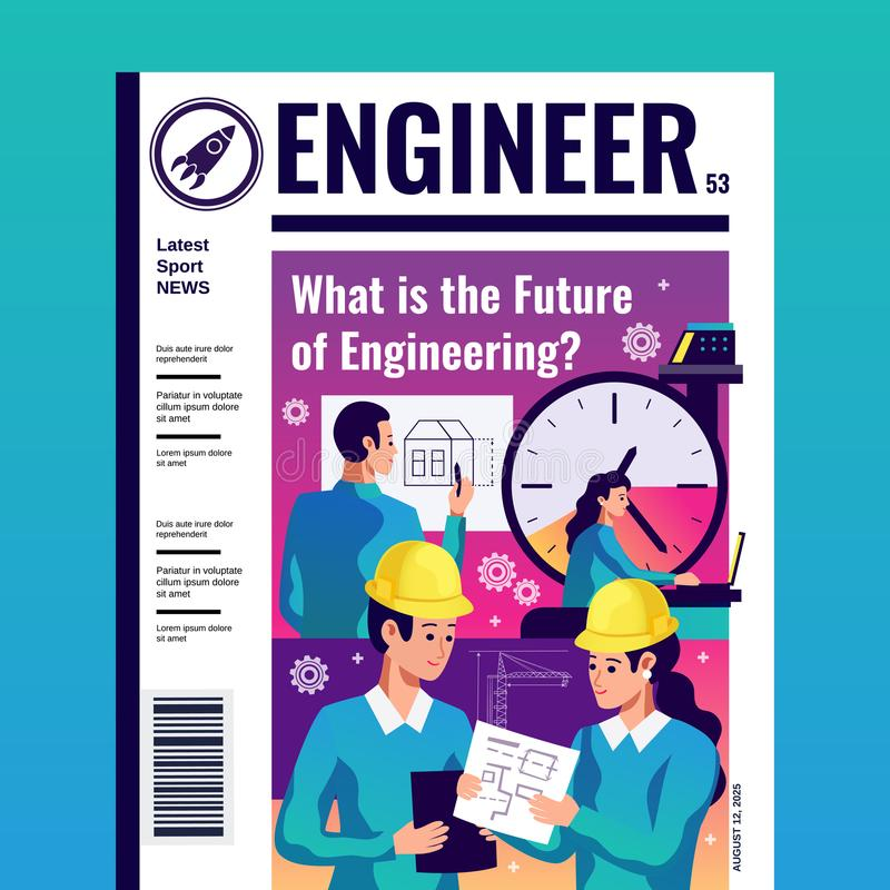 Ingeniero Magazine Cover stock de ilustración