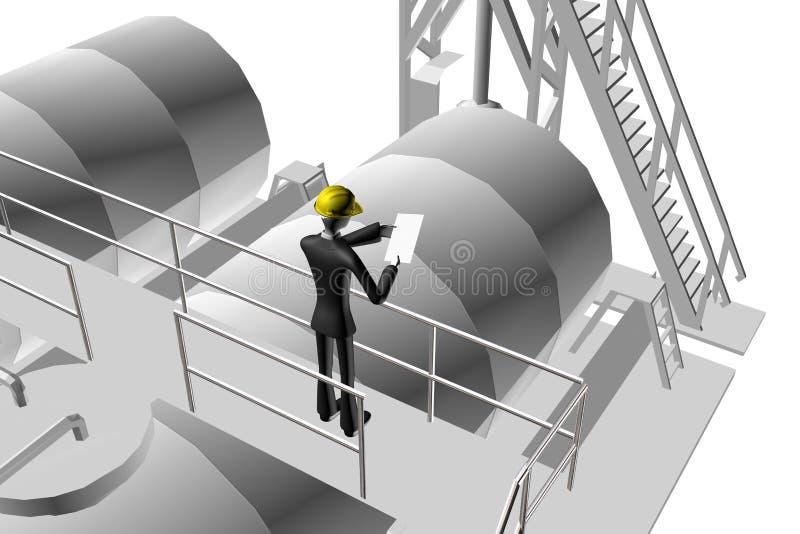 Ingeniero Que Supervisa El Sitio Industrial Stock de ilustración ...
