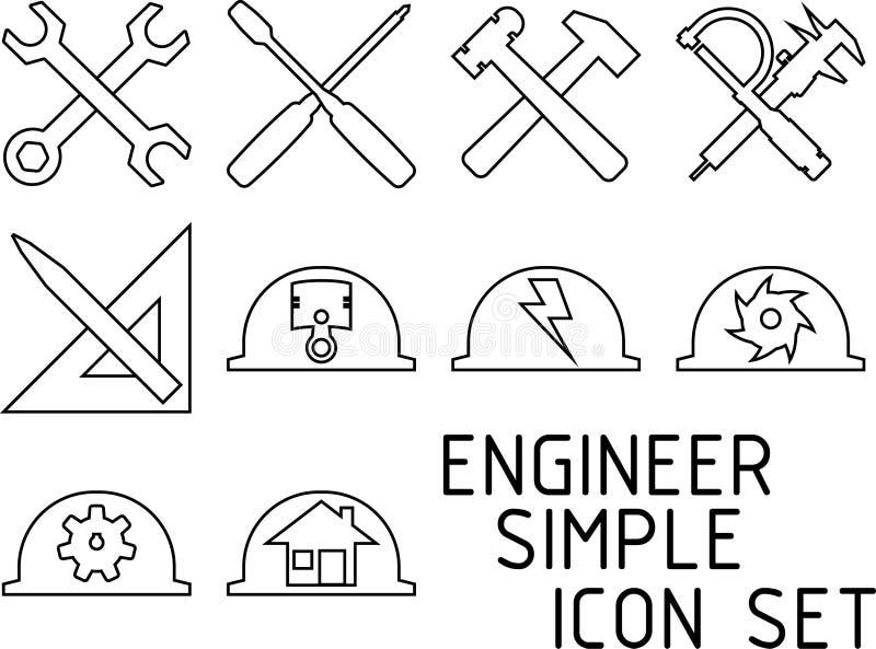 Ingeniero Simple Icon Set fotografía de archivo libre de regalías