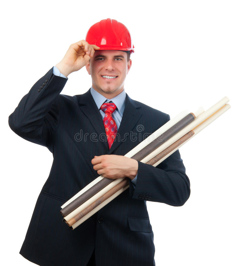 Ingeniero sonriente con el sombrero duro y los modelos foto de archivo libre de regalías