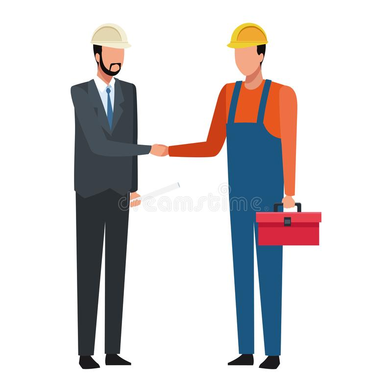Ingeniero y trabajador con la caja de herramientas y planes de construcción coloridos libre illustration