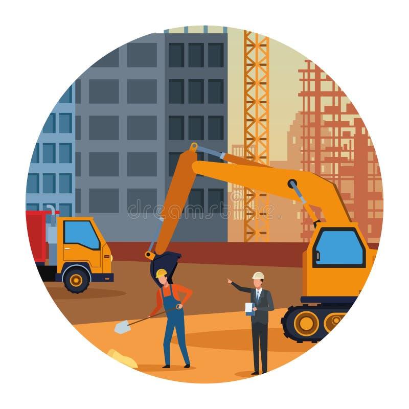 Ingeniero y trabajador de construcción en zona del contruction con los vehículos coloridos libre illustration
