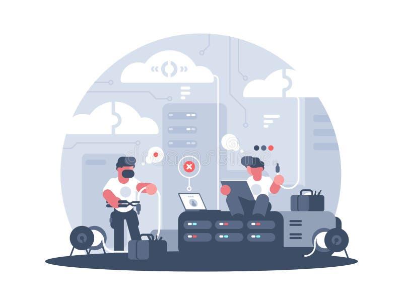 Ingenieros de la ayuda de servicio ilustración del vector