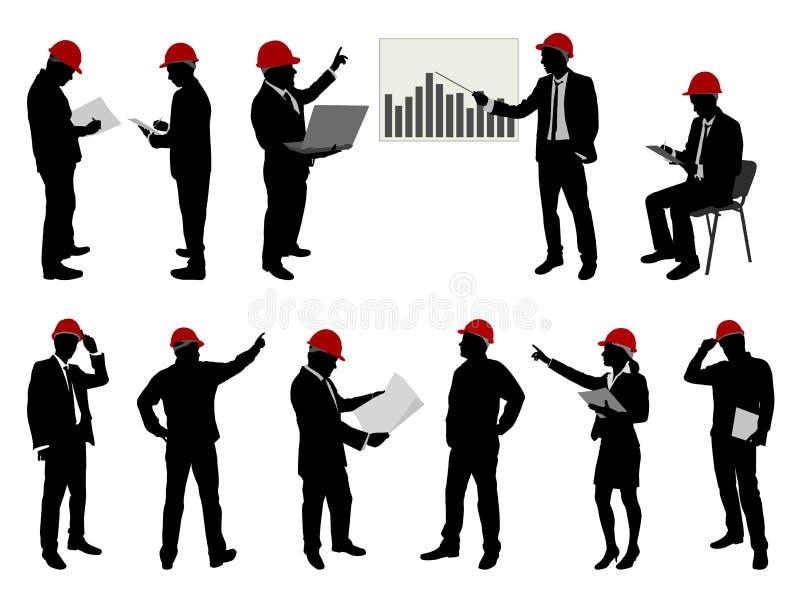 Ingenieros en el trabajo con los cascos de protección libre illustration