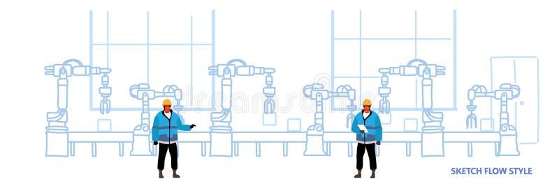 Ingenieros en la planta de fabricación automática uniforme del transportador de la producción de la fábrica que controla automati stock de ilustración