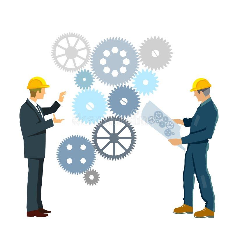 Ingenieros que desarrollan plan de trabajo libre illustration