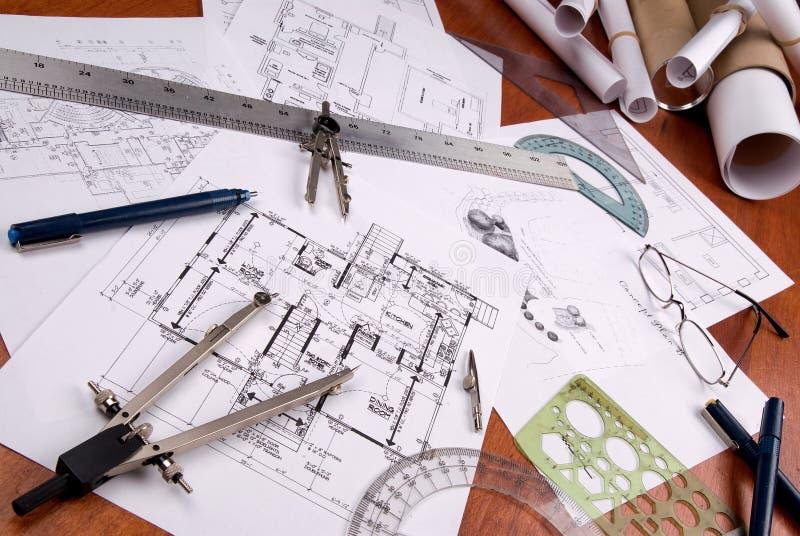 Ingenieur, architect of contractantplannen en hulpmiddelen stock afbeelding