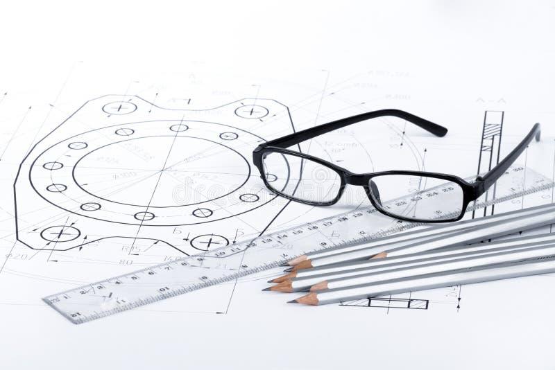 Ingenieur-/Architektenarbeitsplatz stockbild