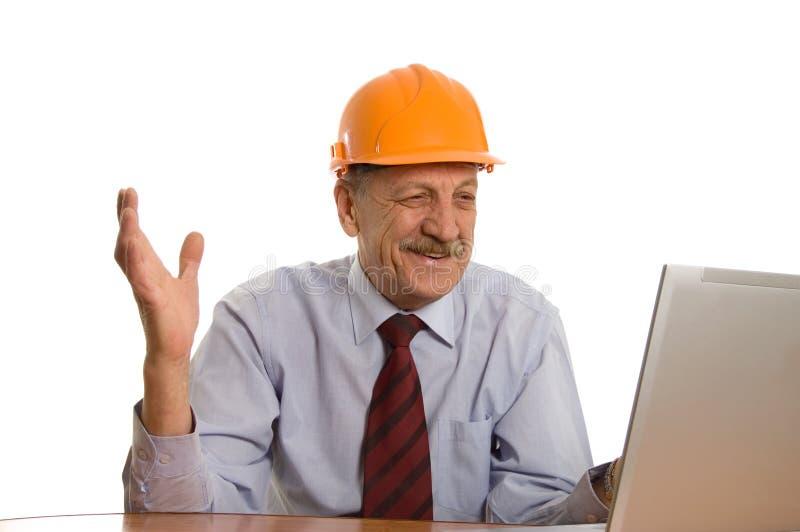Ingenieur bij de computer royalty-vrije stock fotografie
