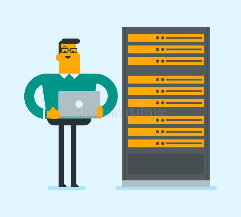 Download Ingenieur Die Aan Laptop In De Ruimte Van De Netwerkserver Werken Vector Illustratie - Illustratie bestaande uit apparaat, menselijk: 107709051