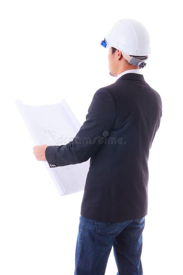 Ingenieur die bouwdiagram kijkt royalty-vrije stock foto's
