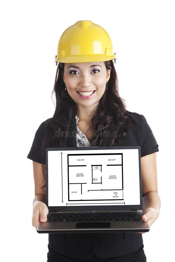 Ingenieur die het Ontwerp van het Huis voorstelt stock afbeeldingen