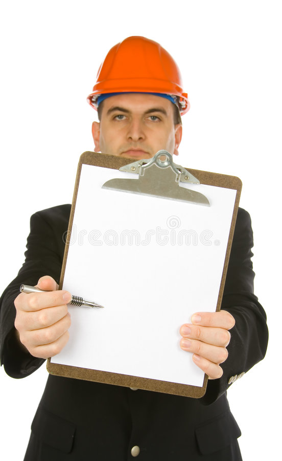 Ingenieur die met pen richt stock foto