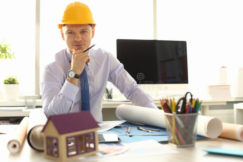 Ingenieur-Draw Design Creative-Gebäude-Plan lizenzfreie stockfotografie