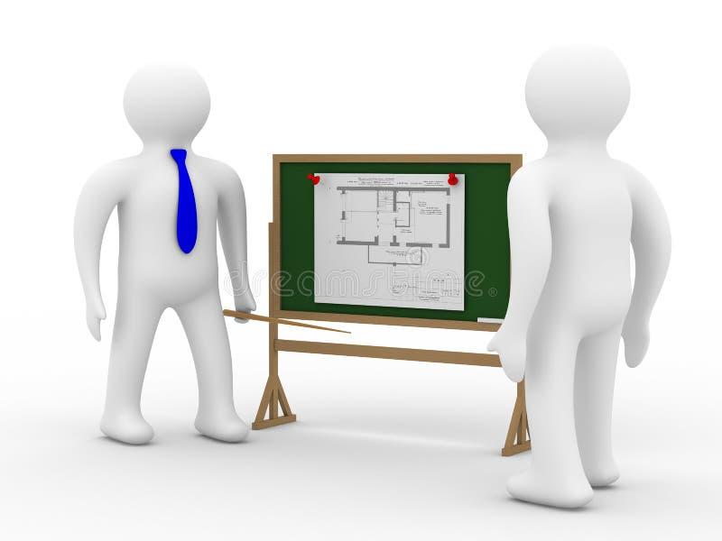 Ingenieur an einem Vorstand mit dem Plan vektor abbildung