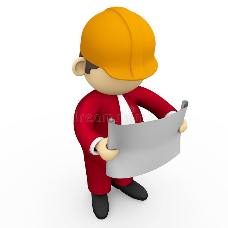 Ingenieur en blauwdruk stock illustratie