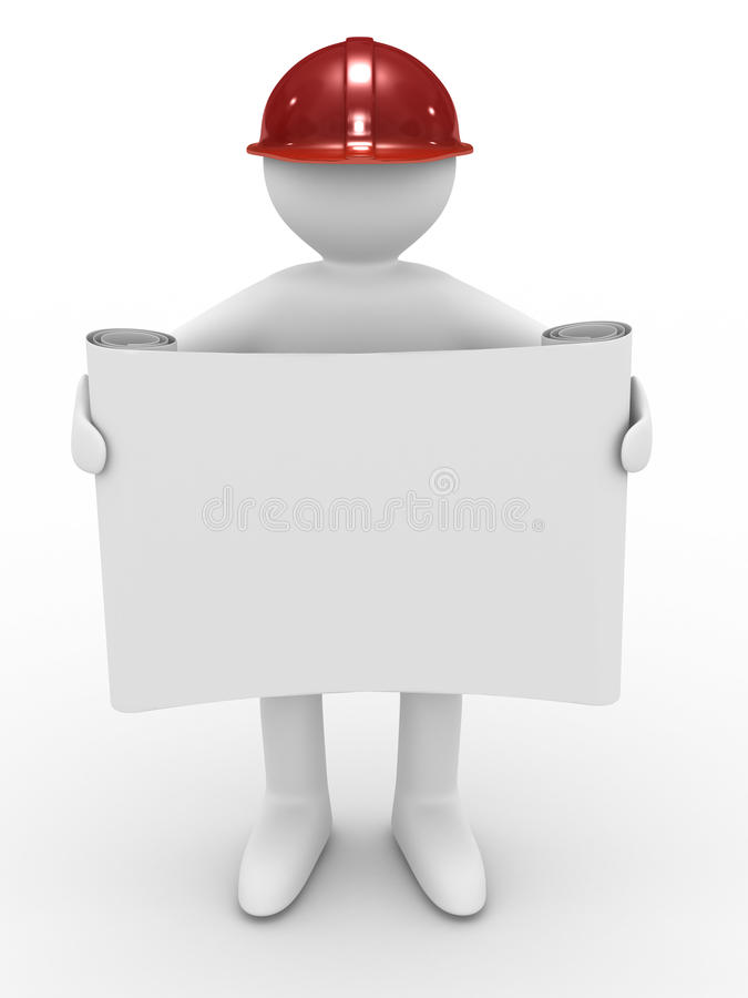 Ingenieur im Sturzhelm auf weißem Hintergrund vektor abbildung