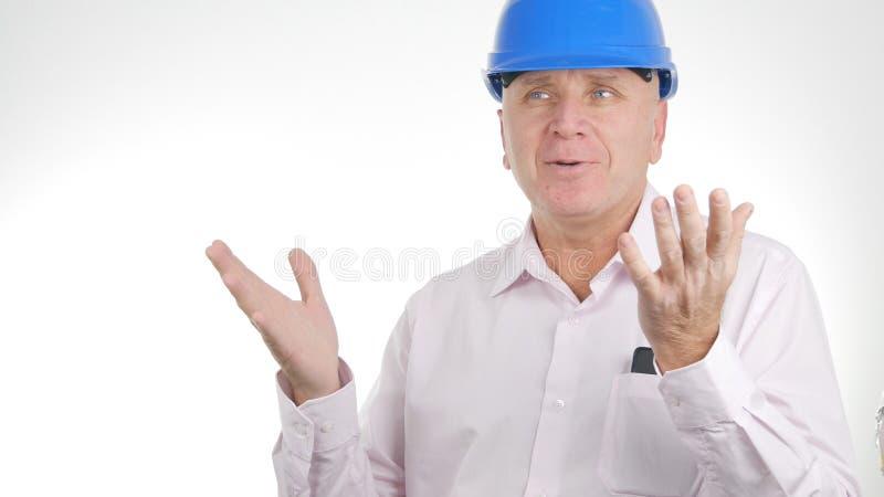 Ingenieur Image Talking und Gestikulieren mit den Händen lizenzfreie stockfotos