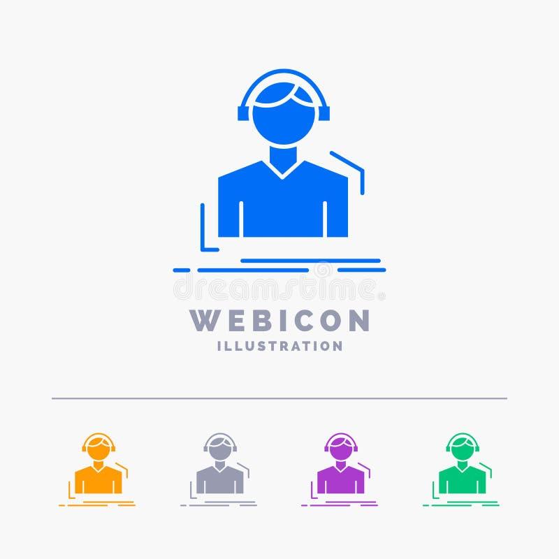 Ingenieur, Kopfhörer, hören, meloman, die Musik 5 Farbeglyph-Netz-Ikonen-Schablone, die auf Weiß lokalisiert wird Auch im corel a stock abbildung
