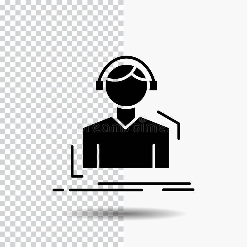 Ingenieur, Kopfhörer, hören, meloman, Musik Glyph-Ikone auf transparentem Hintergrund Schwarze Ikone stock abbildung