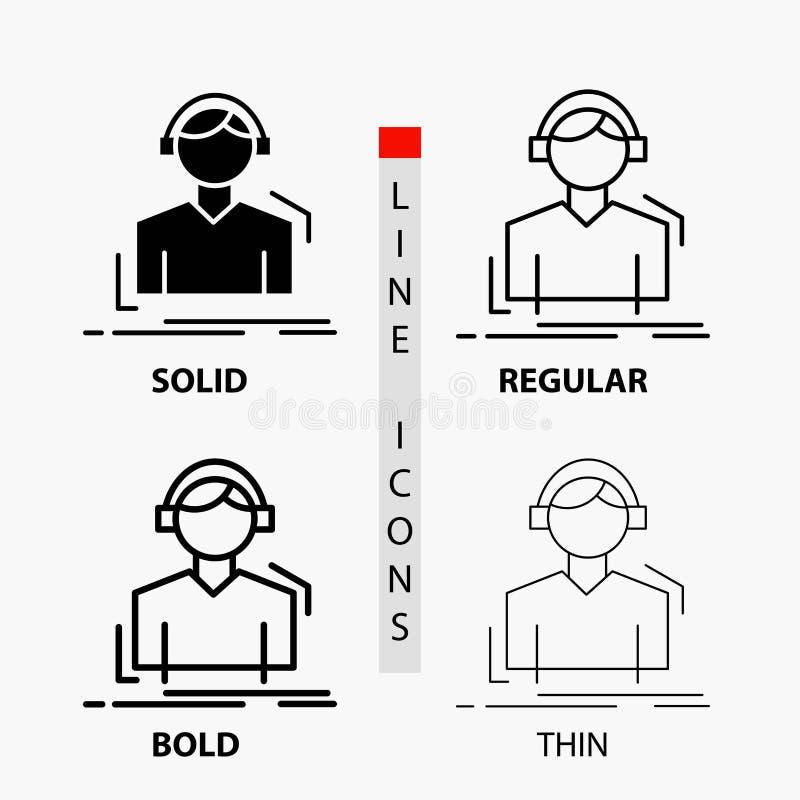 Ingenieur, Kopfhörer, hören, meloman, Musik Ikone in der dünnen, regelmäßigen, mutigen Linie und in der Glyph-Art Auch im corel a lizenzfreie abbildung