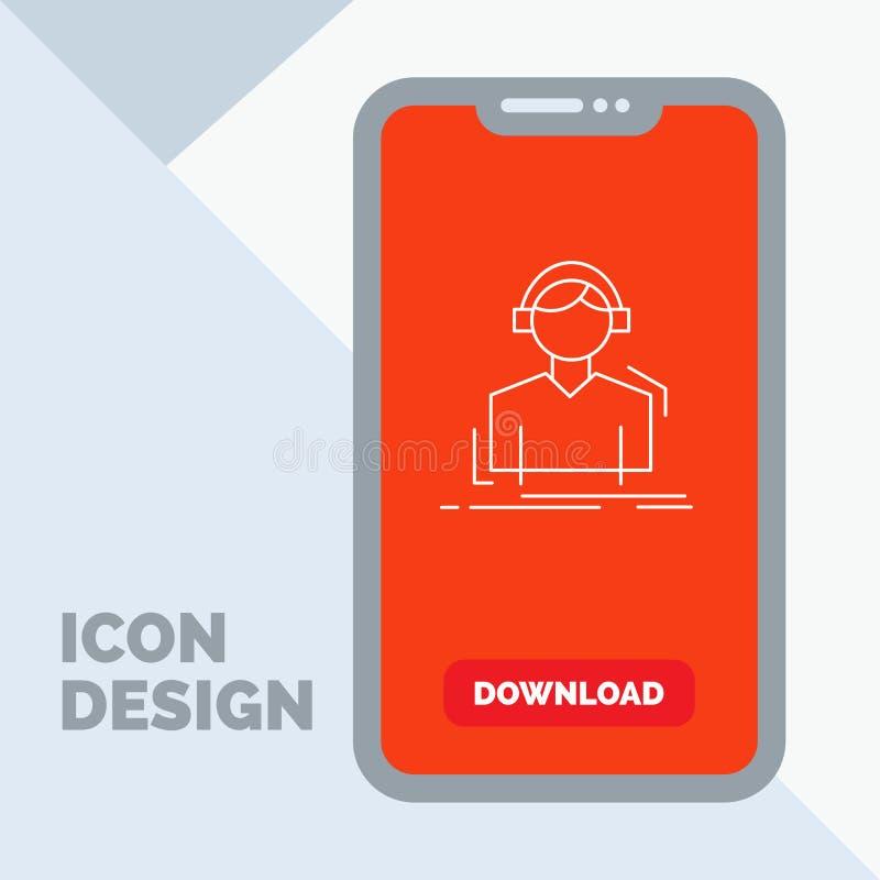 Ingenieur, Kopfhörer, hören, meloman, Musik Linie Ikone im Mobile für Download-Seite lizenzfreie abbildung