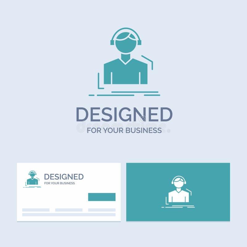 Ingenieur, Kopfhörer, hören, meloman, Musikindustrie Logo Glyph Icon Symbol für Ihr Geschäft T?rkis-Visitenkarten mit stock abbildung