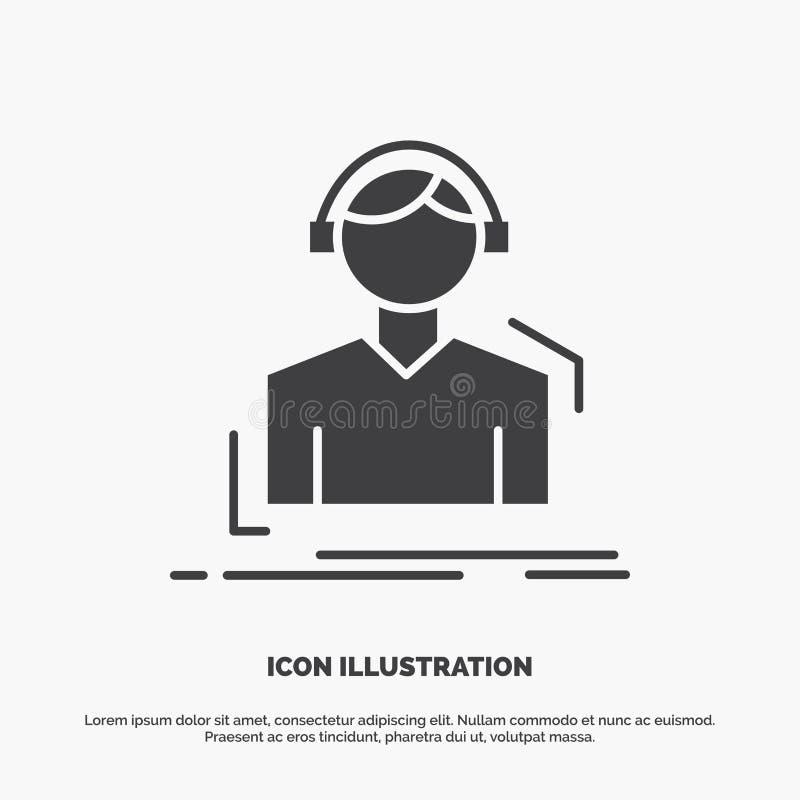 Ingenieur, Kopfh?rer, h?ren, meloman, Musik Ikone graues Symbol des Glyphvektors f?r UI und UX, Website oder bewegliche Anwendung lizenzfreie abbildung
