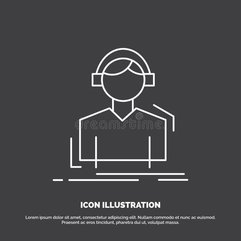 Ingenieur, Kopfh?rer, h?ren, meloman, Musik Ikone Linie Vektorsymbol f?r UI und UX, Website oder bewegliche Anwendung stock abbildung